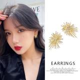 S925银针韩国新款东大门不规则烟花闪钻个性气质耳钉