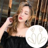 S925银针韩国满钻爱心夸张气质网红不规则设计感心形长款耳钉