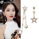 S925银针韩国五角星不对称爆款网红珍珠锆石星星长款耳钉