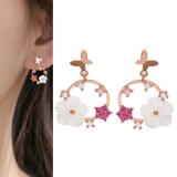 S925银针韩国蝴蝶星星花朵新款小巧气质简约超仙小巧耳钉