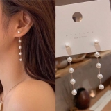S925银针韩国时尚网红ins气质珍珠长款链条流苏长款耳钉
