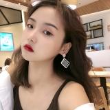 S925韩国银针气质长款几何水晶百搭显脸瘦菱形气质耳钉