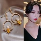 S925银针韩国黄钻小蜜蜂高级感时尚百搭网红耳钉
