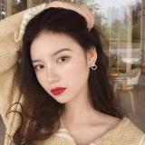 S925银针韩国简约冷淡风不对称圆形镶钻百搭高级感网红气质耳钉