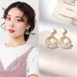 S925银针韩国珍珠甜美几何圆环网红百搭耳钉