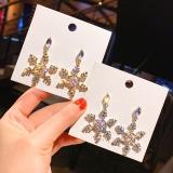 S925银针韩国圣诞雪花满钻超闪网红时尚长款耳钉