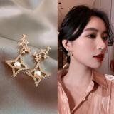 S925银针韩国2020年新款四角星珍珠满钻网红气质耳钉