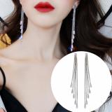 S925银针韩国超闪长方锆石流苏高级感长款小众气质百搭耳钉