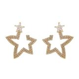 S925银针韩国时尚通勤满钻五角星个性夸张网红气质耳钉