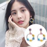 S925银针韩国甜美少女心珍珠精致可爱圆圈花朵耳钉