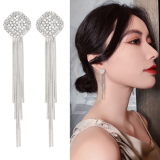 S925银针韩国高级感长流苏气质网红奢华满钻方块耳钉
