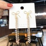 S925银针韩国蝴蝶结流苏长款气质显瘦百搭时尚珍珠串耳钉