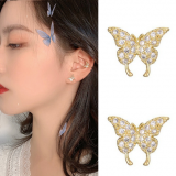 S925银针韩国蝴蝶冷淡风酷帅精致满钻超仙镶钻耳钉