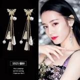 S925银针韩国超仙水晶蝴蝶气质流苏个性网红长款耳钉