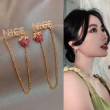 S925银针韩国NICE草莓长款流苏时尚个性夸张耳钉