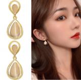 S925银针韩国水滴高级猫眼石小众优雅气质耳钉