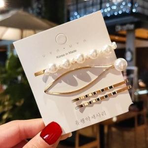 韩国大小珍珠椭圆扭曲可爱气质发夹一字夹