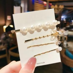 韩国花朵珍珠镶钻四件套超仙气质发夹