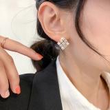S925银针韩国新款东大门满钻锆石高级感方块几何个性耳钉