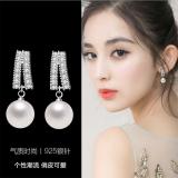 S925银针韩国珍珠气质镶钻简约小巧精致网红耳钉