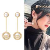 S925银针韩国东大门小香风复古珍珠网红同款气质百搭耳钉