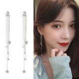 S925银针韩国气质超仙星星一款两戴镶钻流苏长款耳钉