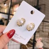 S925银针韩国东大门珍珠满钻C型时尚百搭耳钉