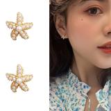S925银针韩国珍珠海星星气质精致少女耳钉