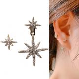 S925银针韩国不对称8芒星满钻高级感气质耳钉