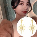 S925银针韩国灿烂烟花2020新款满钻网红气质耳钉