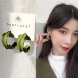 S925银针韩国气质简约半圆几何C形小清新抹茶绿耳钉
