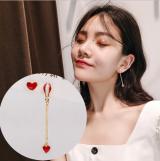S925银针韩国热气球不对称爱心珍珠红色爱心滴釉可爱少女耳钉
