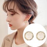 S925银针韩国东大门几何时尚亚克力圆形简约小巧耳钉