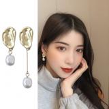 S925银针韩国气质简约几何不对称哑光不规则珍珠耳钉