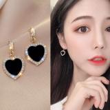 S925银针韩国黑色爱心满钻气质网红新款设计感耳钉