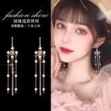S925银针韩国时尚长款超仙流苏珍珠爪链百搭气质耳钉