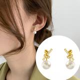 S925银针韩国蝴蝶结珍珠气质小巧打结网红明星同款耳钉