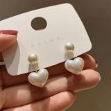 S925银针韩国简约小爱心珍珠东大门少女网红气质耳钉