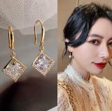 【真金电度】韩国高级感方形锆石气质网红简约小众奢华耳环