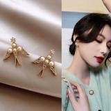 S925银针韩国小燕子珍珠气质网红超仙个性耳钉