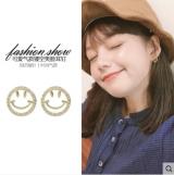 S925银针韩国正能量微笑网红笑脸2020新款精致小巧镶钻耳钉