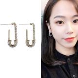 S925银针韩国时尚满钻别针设计感简约百搭新款潮耳钉
