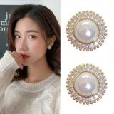 S925银针韩国珍珠圆圈精致闪钻时尚高级感气质耳钉