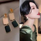 S925银针韩国彩色长方形气质长款2020新潮个性简约撞色耳钉