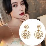 S925银针韩国2020年新款气质网红星星圆形百搭个性耳钉