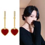 S925银针韩国红色爱心镶钻网红气质女简约小巧桃心耳环耳钉