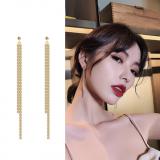 S925银针韩国流苏水钻韩国饰品2020新款潮简约长款耳钉耳环女