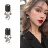 S925银针韩国黑曜石水晶2020年新款潮网红高级感气质耳钉耳饰