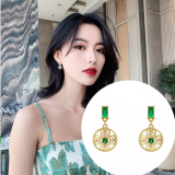 S925银针韩国镶闪钻花盘经典浪漫轻奢祖母绿宝石耳钉女