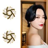 S925银针韩国交叉2020年新款气质网红通勤耳钉耳饰